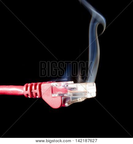 LAN connection that is red with smoke coming from it