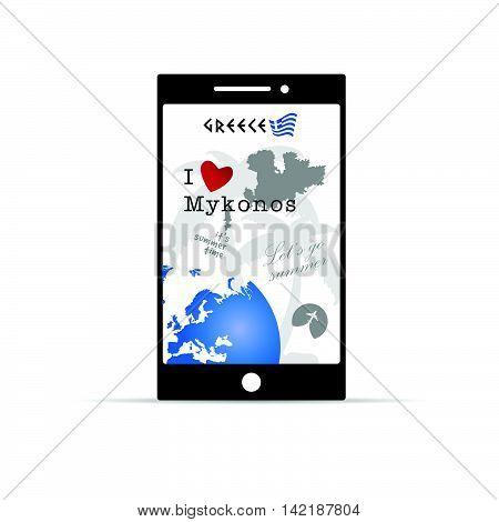 Greek Island Mykonos On Mobile Phone Illustration In Colorful