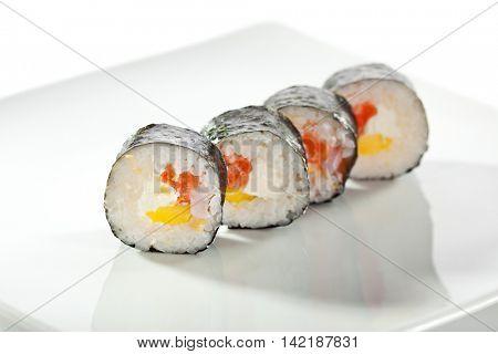 Maki Sushi - Roll made of Salmon, Shrimp and Cream Cheese inside. Nori outside