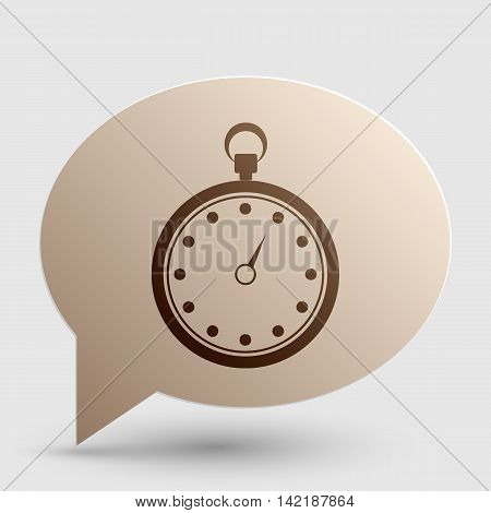 Stopwatch sign illustration. Brown gradient icon on bubble with shadow.