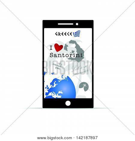Greek Island Santorini On Mobile Phone Illustration In Colorful
