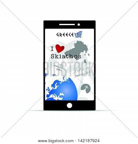 Greek Island Skiathos On Mobile Phone Illustration In Colorful
