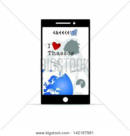 Greek Island Thassos On Mobile Phone Illustration In Colorful