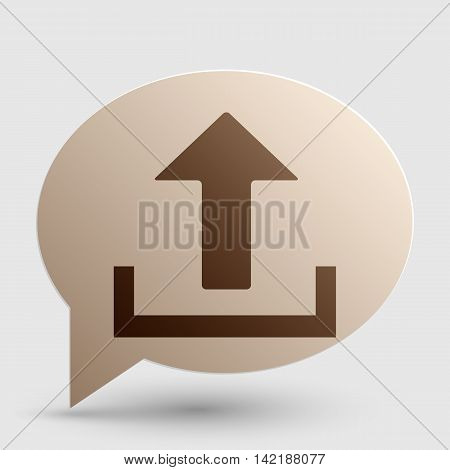 Upload sign illustration. Brown gradient icon on bubble with shadow.