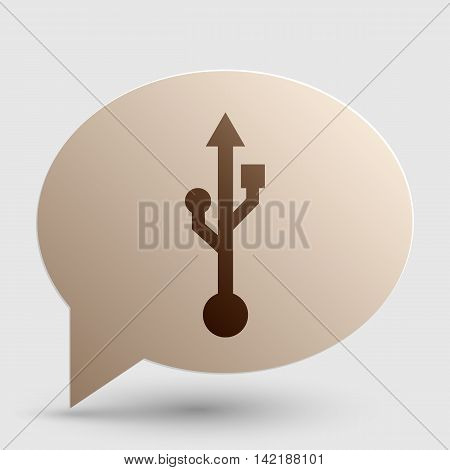 USB sign illustration. Brown gradient icon on bubble with shadow.