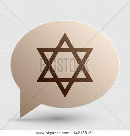Shield Magen David Star. Symbol of Israel. Brown gradient icon on bubble with shadow.