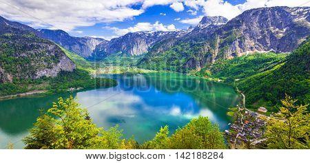 beauty in nature - Alpine scenery and lake Hallstatt in Austrian Alps