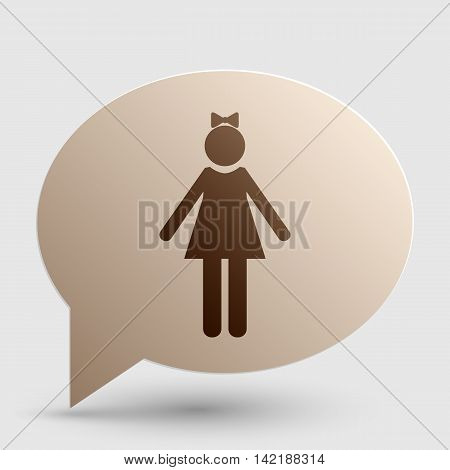 Girl sign illustration. Brown gradient icon on bubble with shadow.