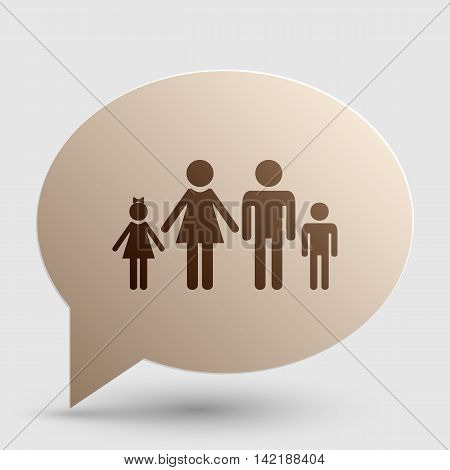 Family sign illustration. Brown gradient icon on bubble with shadow.