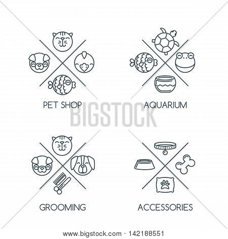 Set Of Pet Shop Outline Logo, Emblem Or Label Design Elements. Vector Line Icons.