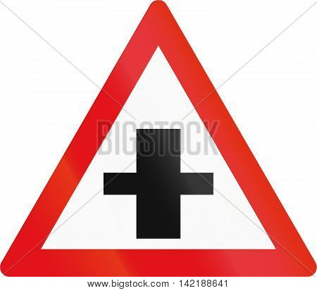 Road Sign Used In The African Country Of Botswana - Crossroad With Priority