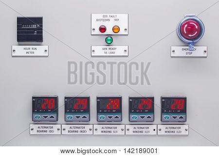 Electrical control panel containing has a digital temperature gauge with an emergency push button switch shutdown .