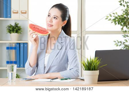 Business Woman Enjoy Relaxation And Enjoy Summer Sweet Fruit