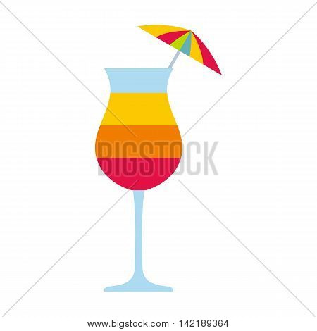 Colorful layered cocktail with umbrella icon in flat style on a white background