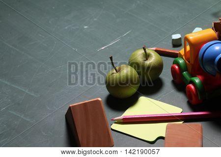 Wooden Blocks Pencil On Blackboard