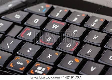 Gaming Keyboard Closeup Detail