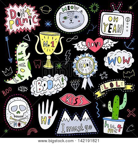 Fun patch set. Print pin badge sticker collection. Vector illustration