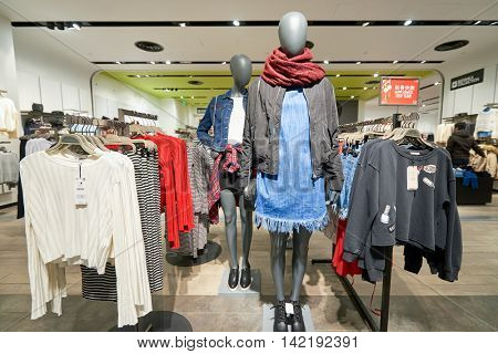 HONG KONG - CIRCA JANUARY, 2016: inside of Bershka store in Hong Kong. Bershka is a retailer and part of the Spanish Inditex group