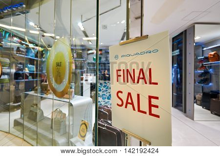 HONG KONG - CIRCA JANUARY, 2016: final sale advertisement in a store in Hong Kong. Shopping is a widely popular social activity in Hong Kong.