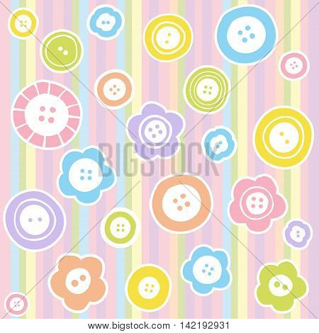 Sewing buttons on fabric background. Fashion illustration of buttons seamless pattern.