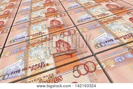 Seychelles rupee bills stacks background. 3D illustration.