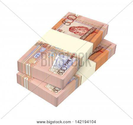 Seychelles rupee bills stacks isolated on white background. 3D illustration.
