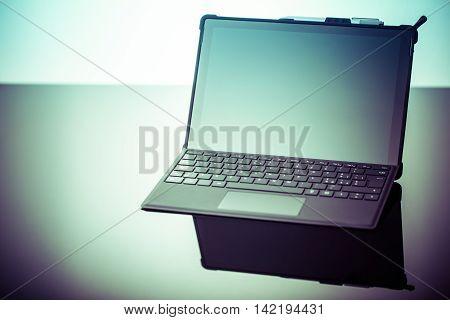 Laptop On Shiny Surface