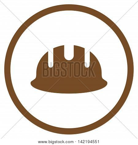 Builder Hardhat vector icon. Style is flat rounded iconic symbol, builder hardhat icon is drawn with brown color on a white background.
