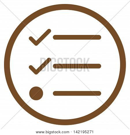 Checklist vector icon. Style is flat rounded iconic symbol, checklist icon is drawn with brown color on a white background.