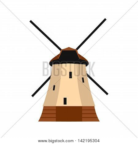 Windmill icon in flat style on a white background