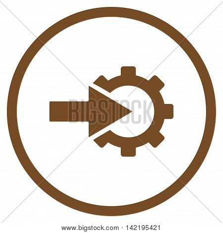 Cog Integration vector icon. Style is flat rounded iconic symbol, cog integration icon is drawn with brown color on a white background.