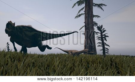 3d illustration of the yangchuanosaurus running for coelophysis