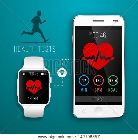 Smart Watch with Fitness application for health. Synchronization of devices. Illustration in flat style