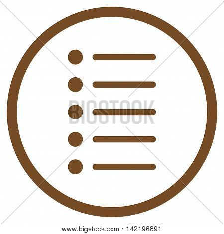 Items vector icon. Style is flat rounded iconic symbol, items icon is drawn with brown color on a white background.