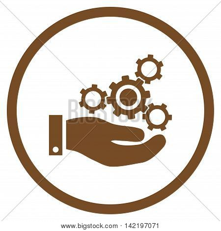 Mechanics Service vector icon. Style is flat rounded iconic symbol, mechanics service icon is drawn with brown color on a white background.