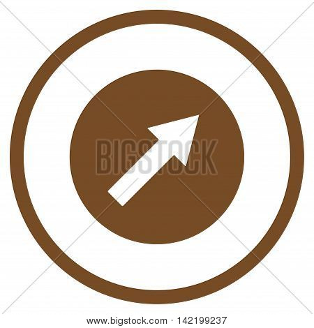 Up-Right Rounded Arrow vector icon. Style is flat rounded iconic symbol, up-right rounded arrow icon is drawn with brown color on a white background.