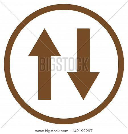 Vertical Flip Arrows vector icon. Style is flat rounded iconic symbol, vertical flip arrows icon is drawn with brown color on a white background.