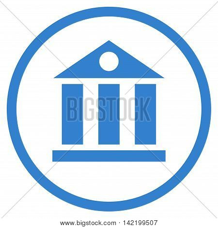 Bank Building vector icon. Style is flat rounded iconic symbol, bank building icon is drawn with cobalt color on a white background.