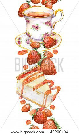 Border stripe with tea cup, cake, summer strawberry. Seamless frame. Watercolor drawing on white background