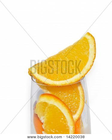 Glass With Lobule Orange Fruits
