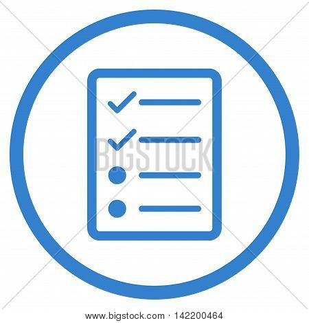 Checklist Page vector icon. Style is flat rounded iconic symbol, checklist page icon is drawn with cobalt color on a white background.