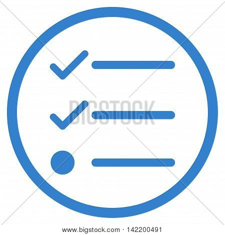 Checklist vector icon. Style is flat rounded iconic symbol, checklist icon is drawn with cobalt color on a white background.