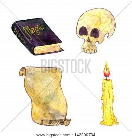 magic set, watercolor human skull, magician book, cndle and parchment, cartoon halloween symbols, hand drawn illustration, isolated design element