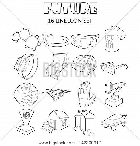 Outline future icons set. Universal future icons to use for web and mobile UI, set of basic future elements isolated vector illustration