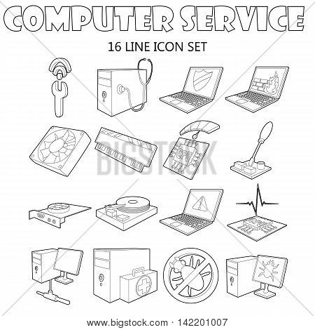 Outline computer service icons set. Universal computer service icons to use for web and mobile UI, set of basic computer service elements isolated vector illustration