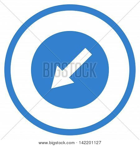 Down-Left Rounded Arrow vector icon. Style is flat rounded iconic symbol, down-left rounded arrow icon is drawn with cobalt color on a white background.