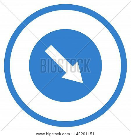 Down-Right Rounded Arrow vector icon. Style is flat rounded iconic symbol, down-right rounded arrow icon is drawn with cobalt color on a white background.