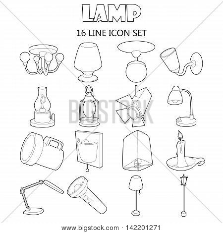 Outline lamp icons set. Universal lamp icons to use for web and mobile UI, set of basic lamp isolated vector illustration