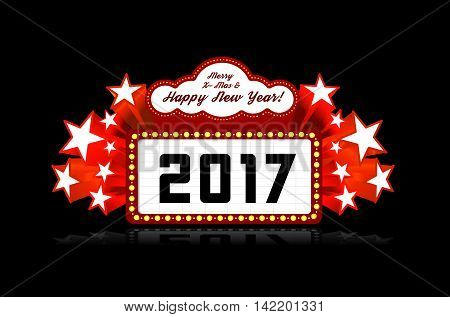 New Year marquee 2017. Vector illustration on black