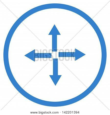 Expand Arrows vector icon. Style is flat rounded iconic symbol, expand arrows icon is drawn with cobalt color on a white background.
